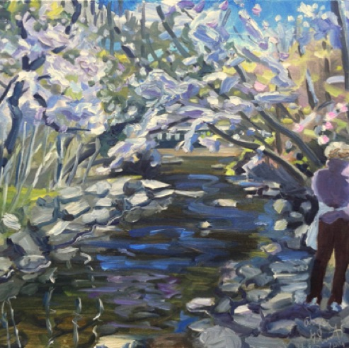 "Painting Along Cobbs Creek,  oil on linen, 16 x 20"", private collection"