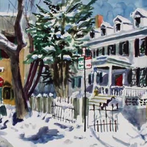 Snow on Bishop Allen, private collection